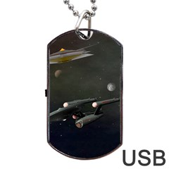 Space Travel Spaceship Space Dog Tag Usb Flash (two Sides)