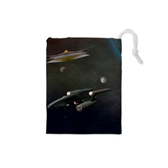 Space Travel Spaceship Space Drawstring Pouches (small)