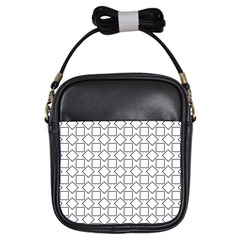 Square Line Stripe Pattern Girls Sling Bags