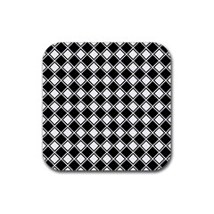 Square Diagonal Pattern Seamless Rubber Square Coaster (4 Pack)