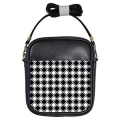 Square Diagonal Pattern Seamless Girls Sling Bags