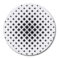Square Pattern Monochrome Round Mousepads