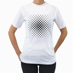 Square Pattern Monochrome Women s T Shirt (white) (two Sided)