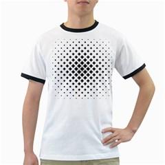 Square Pattern Monochrome Ringer T Shirts
