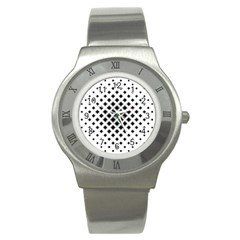 Square Pattern Monochrome Stainless Steel Watch