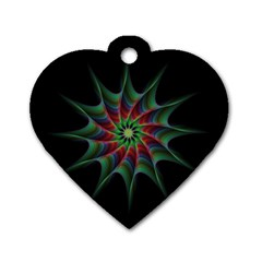 Star Abstract Burst Starburst Dog Tag Heart (one Side)