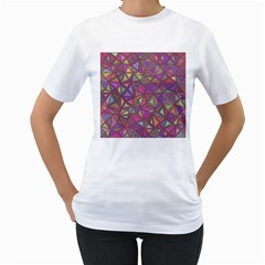 Triangle Background Abstract Women s T Shirt (white) (two Sided)