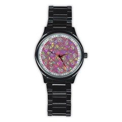 Triangle Background Abstract Stainless Steel Round Watch