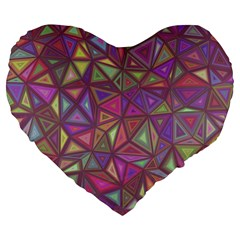 Triangle Background Abstract Large 19  Premium Flano Heart Shape Cushions