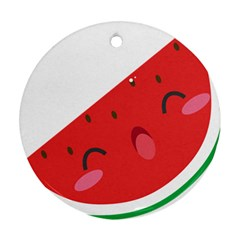 Watermelon Red Network Fruit Juicy Ornament (round)