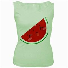 Watermelon Red Network Fruit Juicy Women s Green Tank Top