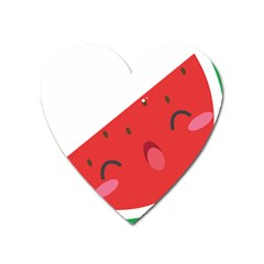 Watermelon Red Network Fruit Juicy Heart Magnet