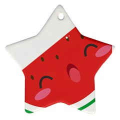 Watermelon Red Network Fruit Juicy Star Ornament (two Sides)