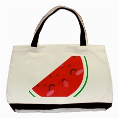 Watermelon Red Network Fruit Juicy Basic Tote Bag (two Sides)