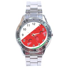 Watermelon Red Network Fruit Juicy Stainless Steel Analogue Watch