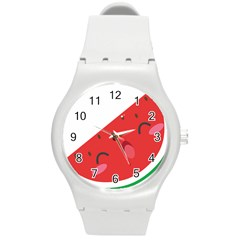 Watermelon Red Network Fruit Juicy Round Plastic Sport Watch (m)