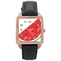 Watermelon Red Network Fruit Juicy Rose Gold Leather Watch