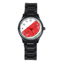 Watermelon Red Network Fruit Juicy Stainless Steel Round Watch