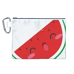 Watermelon Red Network Fruit Juicy Canvas Cosmetic Bag (l)