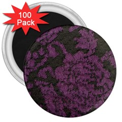Purple Black Red Fabric Textile 3  Magnets (100 Pack)