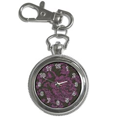 Purple Black Red Fabric Textile Key Chain Watches