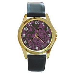 Purple Black Red Fabric Textile Round Gold Metal Watch