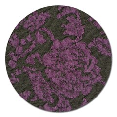 Purple Black Red Fabric Textile Magnet 5  (round)