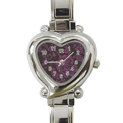 Purple Black Red Fabric Textile Heart Italian Charm Watch