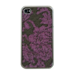 Purple Black Red Fabric Textile Apple Iphone 4 Case (clear)