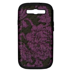 Purple Black Red Fabric Textile Samsung Galaxy S Iii Hardshell Case (pc+silicone)