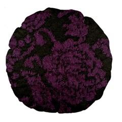 Purple Black Red Fabric Textile Large 18  Premium Round Cushions