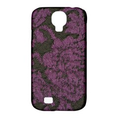 Purple Black Red Fabric Textile Samsung Galaxy S4 Classic Hardshell Case (pc+silicone)