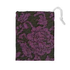 Purple Black Red Fabric Textile Drawstring Pouches (large)