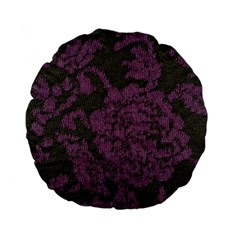 Purple Black Red Fabric Textile Standard 15  Premium Flano Round Cushions