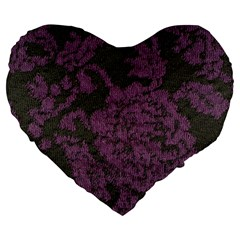 Purple Black Red Fabric Textile Large 19  Premium Flano Heart Shape Cushions