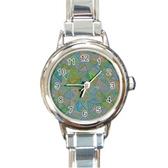 Triangle Background Abstract Round Italian Charm Watch