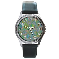 Triangle Background Abstract Round Metal Watch