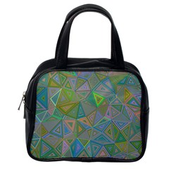 Triangle Background Abstract Classic Handbags (one Side)