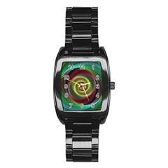 Spiral Vortex Fractal Render Swirl Stainless Steel Barrel Watch