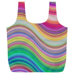 Wave Background Happy Design Full Print Recycle Bags (l)