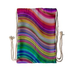 Wave Background Happy Design Drawstring Bag (small)