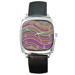 Wave Abstract Happy Background Square Metal Watch