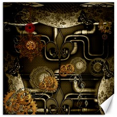 Wonderful Noble Steampunk Design, Clocks And Gears And Butterflies Canvas 20  X 20
