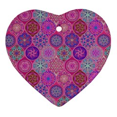 12 Geometric Hand Drawings Pattern Heart Ornament (two Sides)