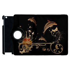 Wonderful Dolphins And Flowers, Golden Colors Apple Ipad 2 Flip 360 Case