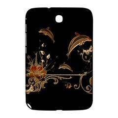 Wonderful Dolphins And Flowers, Golden Colors Samsung Galaxy Note 8 0 N5100 Hardshell Case