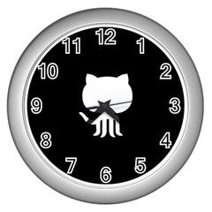 Logo Icon Github Wall Clocks (silver)