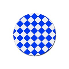 Blue White Diamonds Seamless Rubber Coaster (round)