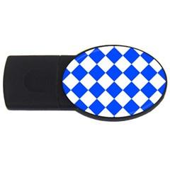Blue White Diamonds Seamless Usb Flash Drive Oval (2 Gb)