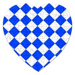Blue White Diamonds Seamless Jigsaw Puzzle (heart)